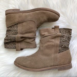 SOLD TOMS Pull-On Suede Ankle Boots Tribal